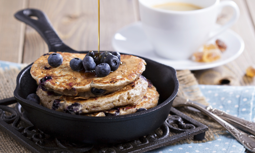 Easy Blueberry Banana Pancakes (Vegan + GF)